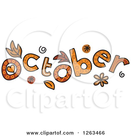 Clipart of Colorful Sketched Month of October Text - Royalty Free Vector Illustration by Prawny