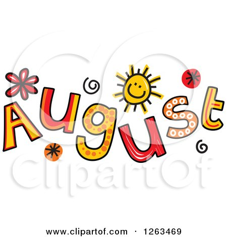 Clipart of Colorful Sketched Month of August Text - Royalty Free Vector Illustration by Prawny