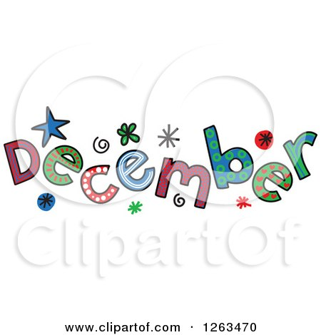 Clipart of Colorful Sketched Month of December Text - Royalty Free Vector Illustration by Prawny