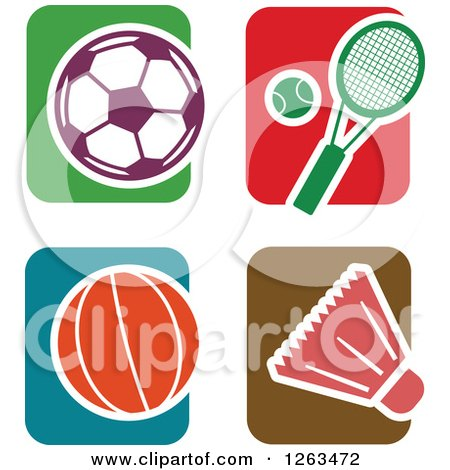 Clipart of Colorful Tile and Sports Icons - Royalty Free Vector Illustration by Prawny