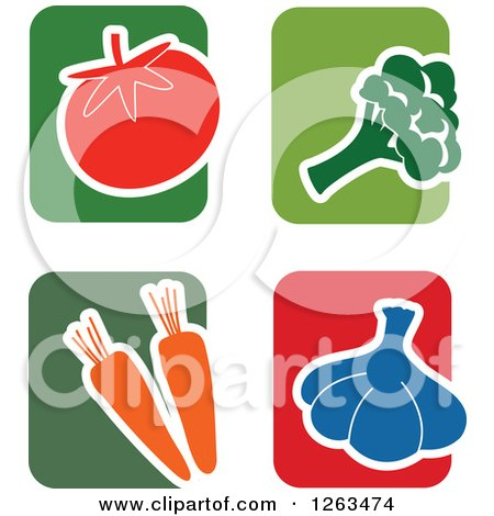 Clipart of Colorful Tile and Vegetable Icons - Royalty Free Vector Illustration by Prawny