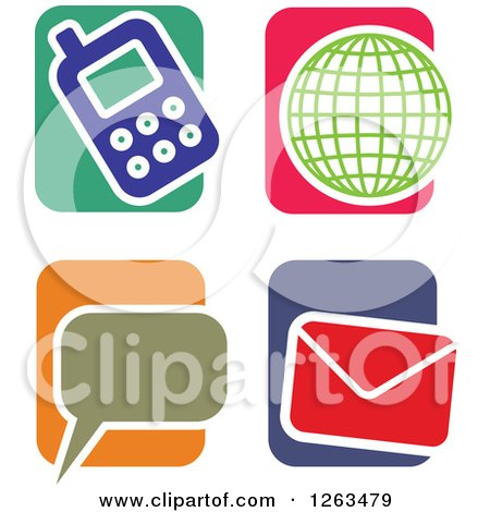 Clipart of Colorful Tile and Communications Icons - Royalty Free Vector Illustration by Prawny