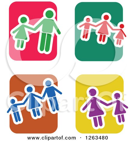 Clipart of Colorful Tile and Family Icons - Royalty Free Vector Illustration by Prawny