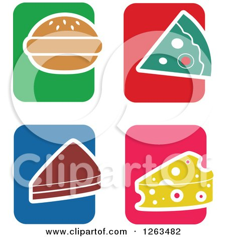 Clipart of Colorful Tile and Food Icons - Royalty Free Vector Illustration by Prawny