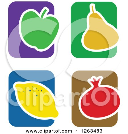 Clipart of Colorful Tile and Fruit Icons - Royalty Free Vector Illustration by Prawny