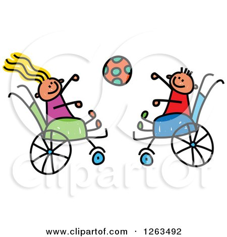 Clipart of Happy White Disabled Stick Children Tossing a Ball in Their Wheelchairs - Royalty Free Vector Illustration by Prawny