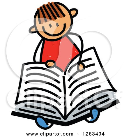Clipart of a Brunette White Stick Boy Reading a Book - Royalty Free Vector Illustration by Prawny