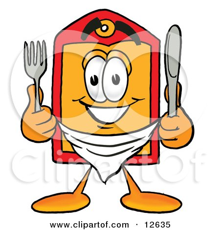 Clipart Picture of a Price Tag Mascot Cartoon Character Holding a Knife and Fork by Toons4Biz