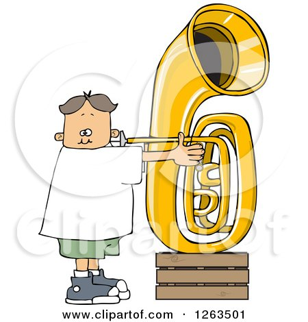 Clipart of a White Boy Playing a Tuba - Royalty Free Vector Illustration by djart