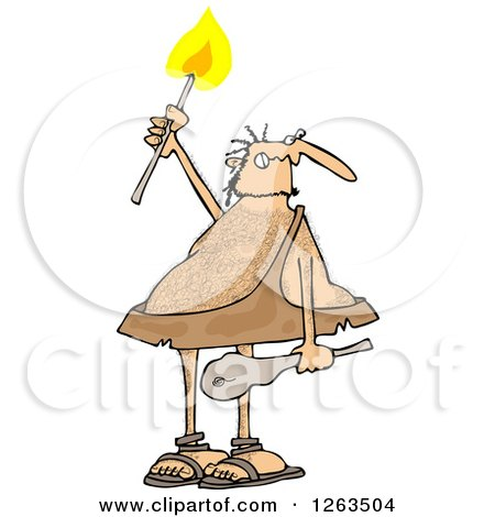 Clipart of a Hairy Caveman Holding a Torch - Royalty Free Vector Illustration by djart