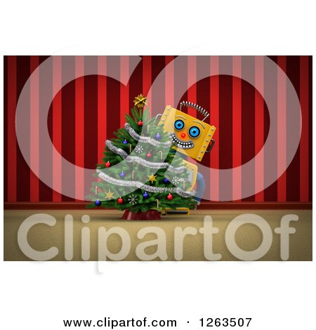 Clipart of a 3d Yellow Robot Smiling Around a Christmas Tree, over Red Curtains - Royalty Free Illustration by stockillustrations