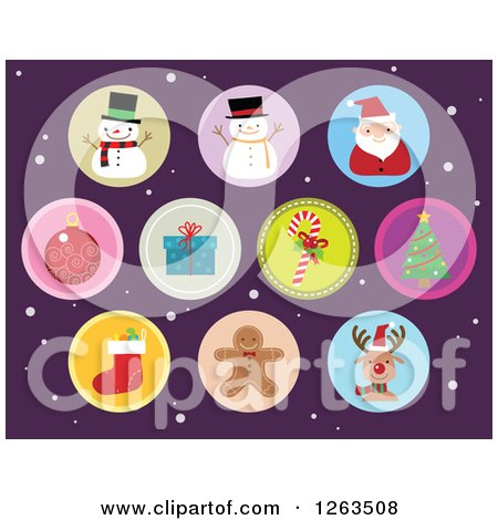 Clipart of Round Christmas Icons over Purple and Snow - Royalty Free Vector Illustration by Qiun