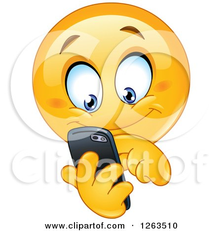 Clipart of a Happy Emoticon Smiley Texting on a Smart Phone - Royalty Free Vector Illustration by yayayoyo