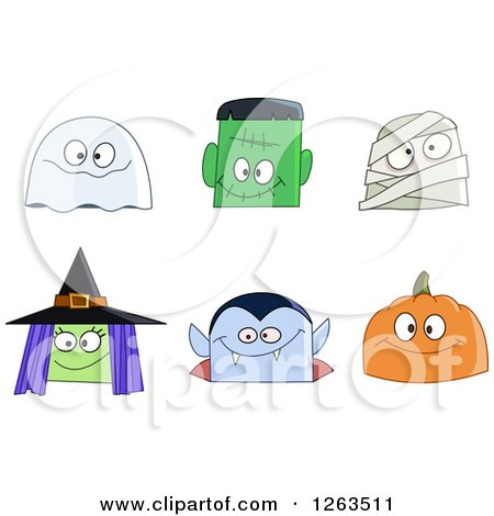 Clipart of Halloween Character Faces - Royalty Free Vector Illustration by yayayoyo