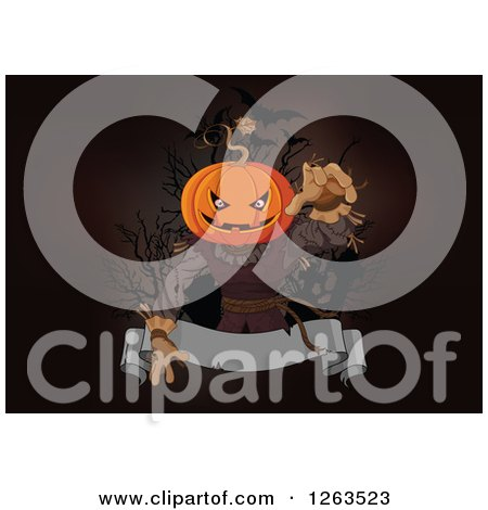 Clipart of a Creepy Halloween Jackolantern Scarecrow Man Reaching out over a Blank Ribbon Banner - Royalty Free Vector Illustration by Pushkin
