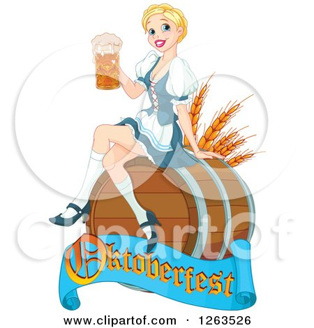 Clipart of a Happy Blond Beer Maiden Woman Sitting on a Keg Barrel with an Oktoberfest Banner - Royalty Free Vector Illustration by Pushkin