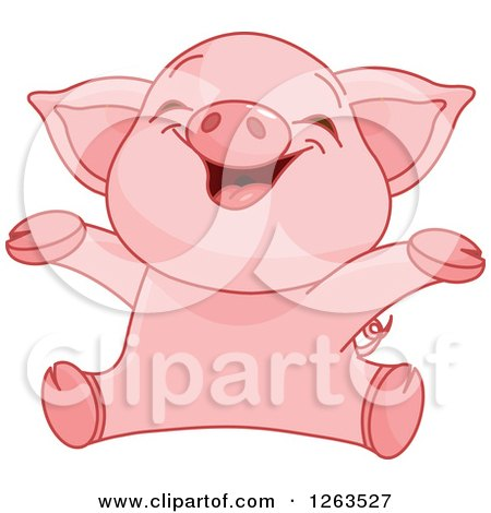 Clipart of a Cute Baby Piglet Cheering - Royalty Free Vector Illustration by Pushkin