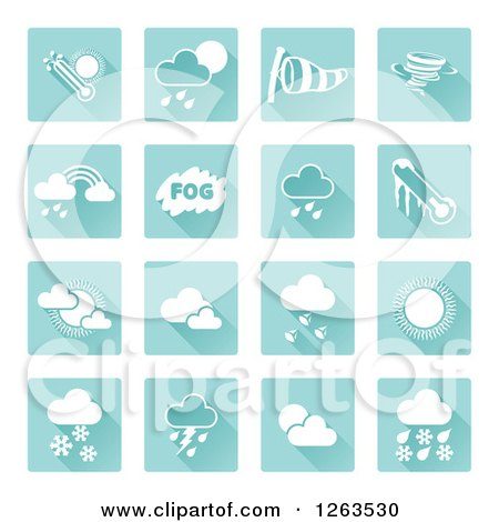 Clipart of Square Blue and White Weather Icons - Royalty Free Vector Illustration by AtStockIllustration