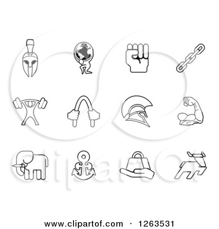 Clipart of Black and White Strength Icons - Royalty Free Vector Illustration by AtStockIllustration