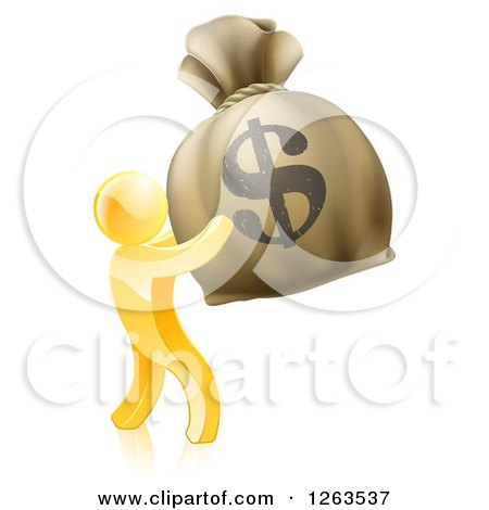 Clipart of a 3d Gold Man Holding up a Large Dollar Money Bag - Royalty Free Vector Illustration by AtStockIllustration