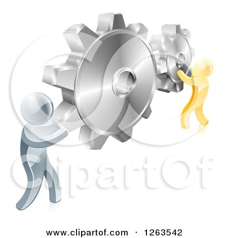 Clipart of 3d Gold and Silver Men Connecting Two Giant Gear Cogs - Royalty Free Vector Illustration by AtStockIllustration