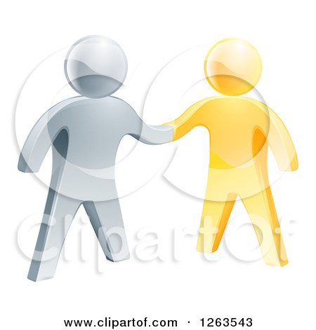 Clipart of a 3d Gold and Silver Men Shaking Hands - Royalty Free Vector Illustration by AtStockIllustration