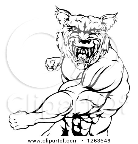 Black and White Vicious Muscular Wolf Man Punching Posters, Art Prints