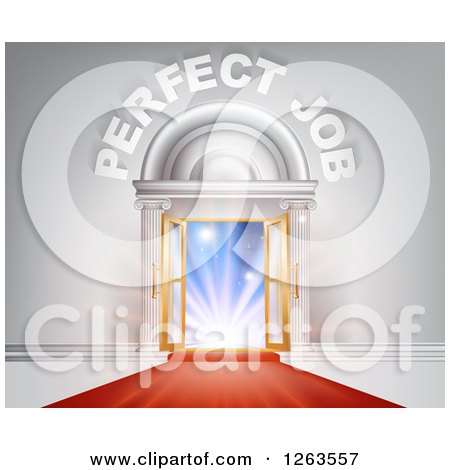 Clipart of a Venue Entrance with Perfect Job Text and Red Carpet - Royalty Free Vector Illustration by AtStockIllustration