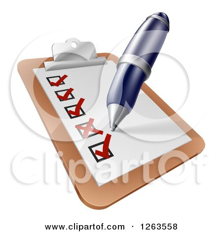 Clipart of a Pen Checking off Items on a Clipboard - Royalty Free Vector Illustration by AtStockIllustration
