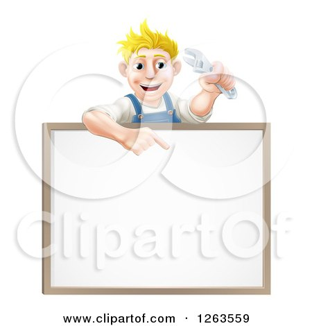 Happy Blond White Mechanic Man Holding a Wrench over a White Board Sign Posters, Art Prints