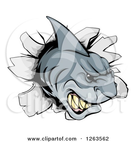 Clipart of an Aggressive Shark Breaking Through a Wall - Royalty Free Vector Illustration by AtStockIllustration