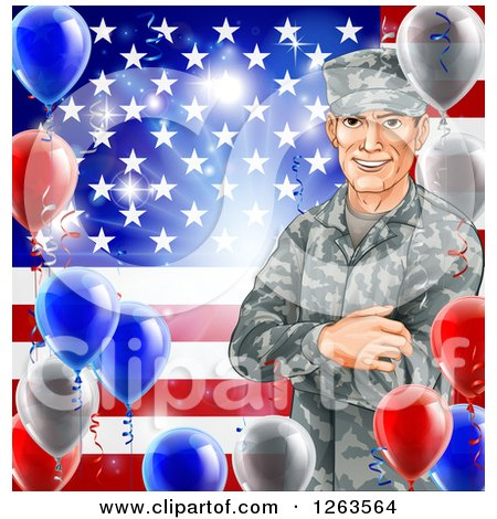 Clipart Of A Happy Caucasian Male Military Veteran Over An American Flag And Balloons Royalty Free Vector Illustration