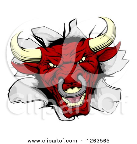 Clipart of a Red Aggressive Bull Breaking Through a Wall - Royalty Free Vector Illustration by AtStockIllustration