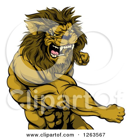 Clipart Of An Angry Muscular Lion Man Punching Royalty Free Vector Illustration
