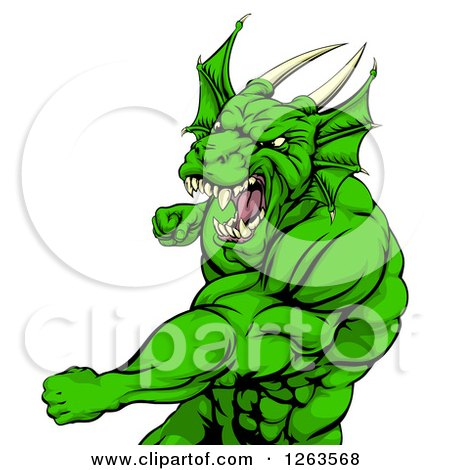 Clipart of an Angry Muscular Green Dragon Man Punching - Royalty Free Vector Illustration by AtStockIllustration