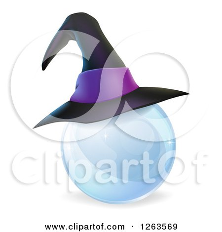 Clipart of a 3d Witch Hat on a Crystal Ball - Royalty Free Vector Illustration by AtStockIllustration