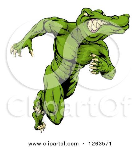 Clipart of a Crocodile or Alligator Man Running Upright - Royalty Free Vector Illustration by AtStockIllustration