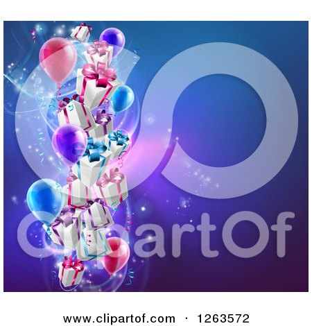 Clipart of 3d Gift Boxes and Party Balloons over a Blue Background - Royalty Free Vector Illustration by AtStockIllustration