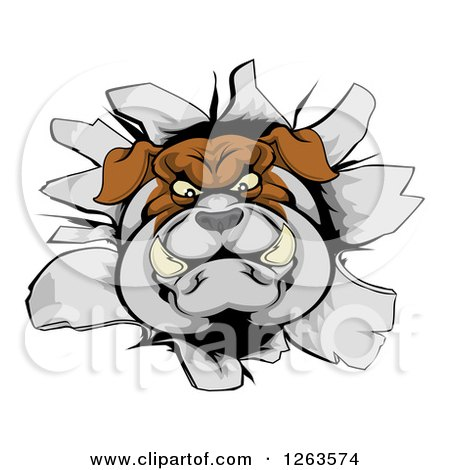 Clipart of a Bulldog Breaking Through a Wall - Royalty Free Vector Illustration by AtStockIllustration