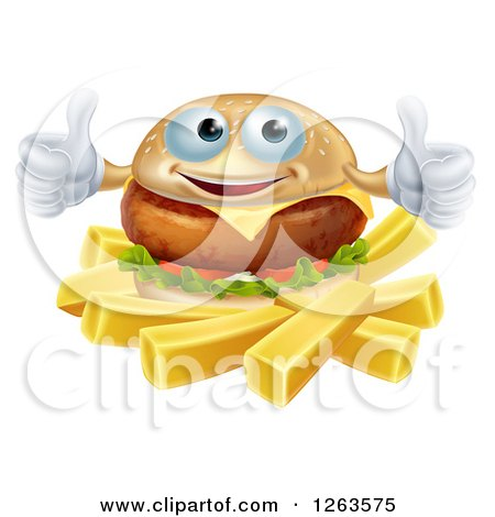 Clipart of a Happy Cheeseburger Holding Two Thumbs up over French Fries - Royalty Free Vector Illustration by AtStockIllustration
