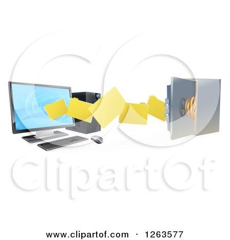 3d Desktop Computer Moving Files to an Open Vault Safe Posters, Art Prints