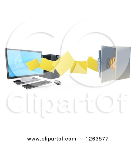 Clipart of a 3d Desktop Computer Moving Files to an Open Vault Safe - Royalty Free Vector Illustration by AtStockIllustration