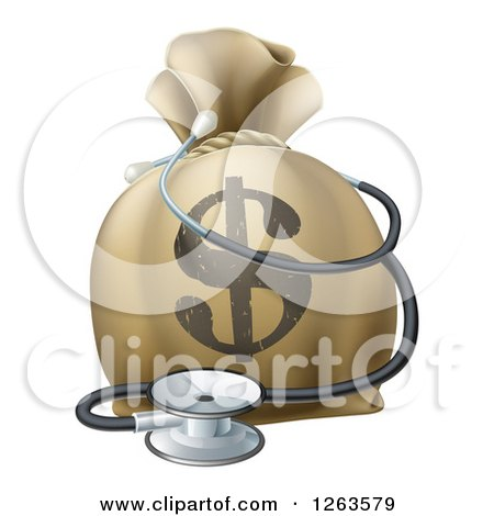 Clipart of a 3d Dollar Symbol Money Bag and Stethoscope - Royalty Free Vector Illustration by AtStockIllustration