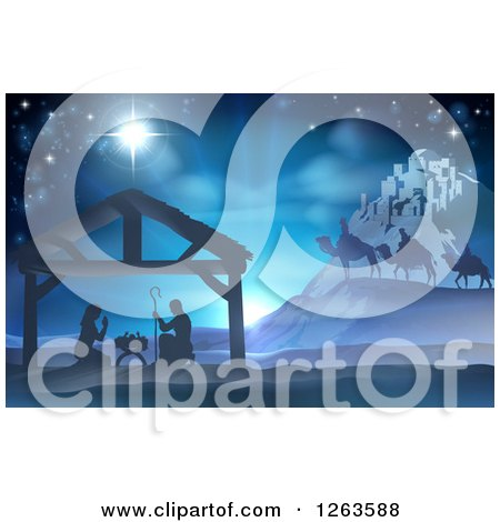 Silhouetted Christmas Nativity Scene at the Manger with the Star of Bethlehem, Wise Men and Star Posters, Art Prints