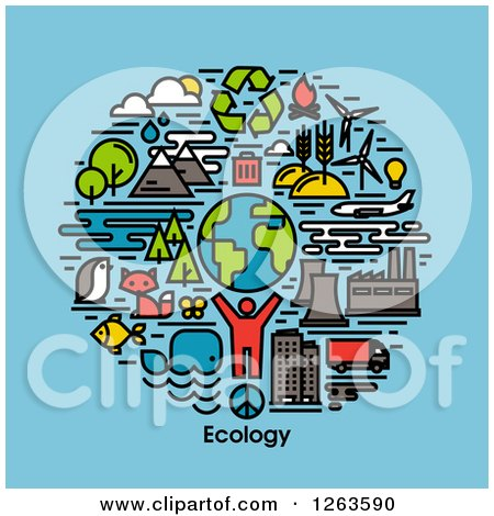 Clipart of a Man with Earth Wildlife and Ecology Items over Text on Blue - Royalty Free Vector Illustration by elena