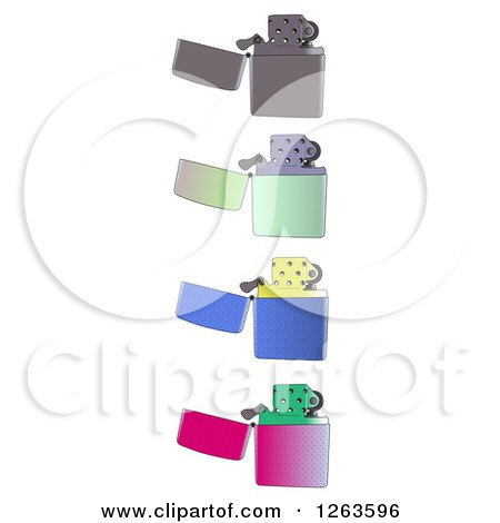 Clipart of Colorful Lighters - Royalty Free Vector Illustration by pauloribau