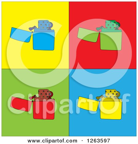 Clipart of Lighters on Colorful Tiles - Royalty Free Vector Illustration by pauloribau
