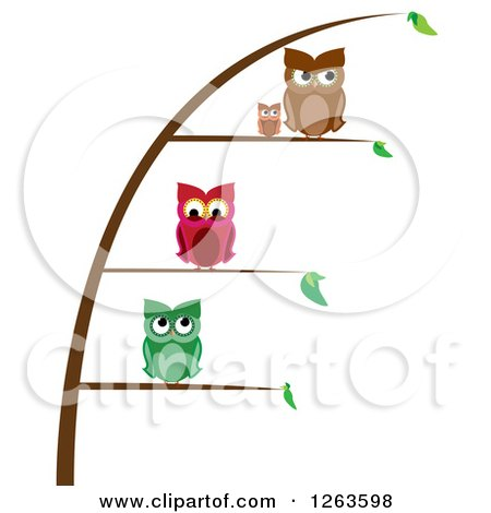 Clipart of Owls Perched on Different Levels of a Plant - Royalty Free Vector Illustration by pauloribau