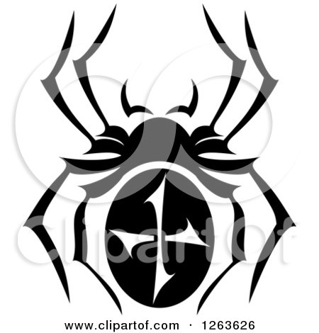 Clipart of a Black and White Spider - Royalty Free Vector Illustration by Vector Tradition SM