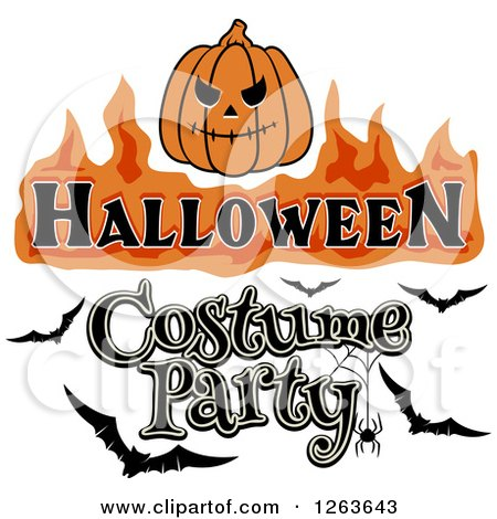 Clipart of a Jackolantern with Halloween Costume Party ...